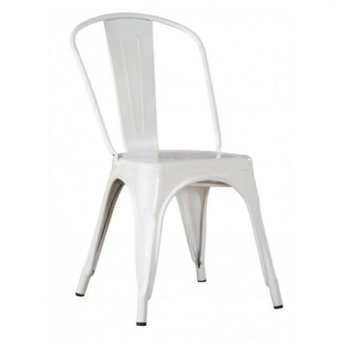 białe krzesło metalowe loft